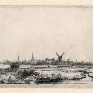 """Rembrandt ets """"Gezicht op Amsterdam, 1640"""""""