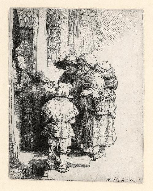 Rembrandt Ets, Bedelaars krijgen een aalmoes, 1648