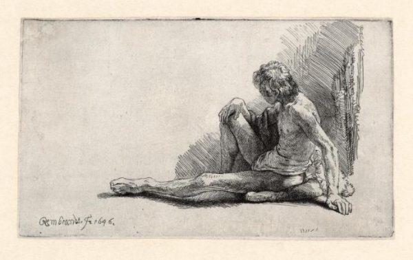 Rembrandt ets: Zittende naakte man, 1646