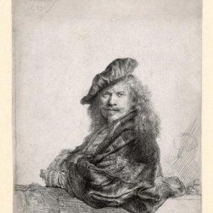 Zelfportret, leunend op een stenen dorpel, 1639