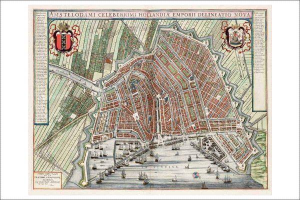 Oude kaart Amsterdam in 1649 van Johan Blaeu