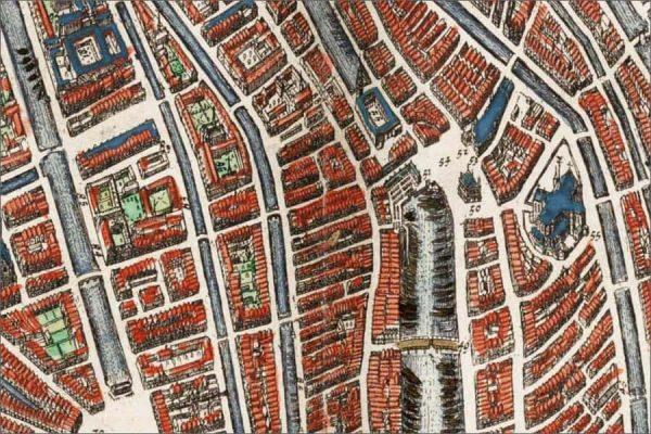 Oude kaart van Amsterdam in 1649 door Johan Blaeu