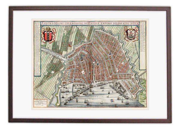 Oude kaart Amsterdam in 1649 van Johan Blaeu ingelijst