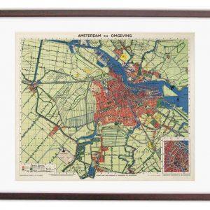 Oude kaart van Amsterdam rond 1900 ingelijst