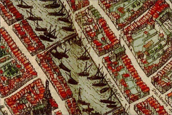 Bekende oude kaart van Amsterdam in 1580
