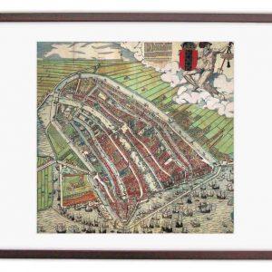 Oude kaart van Amsterdam in 1580 ingelijst