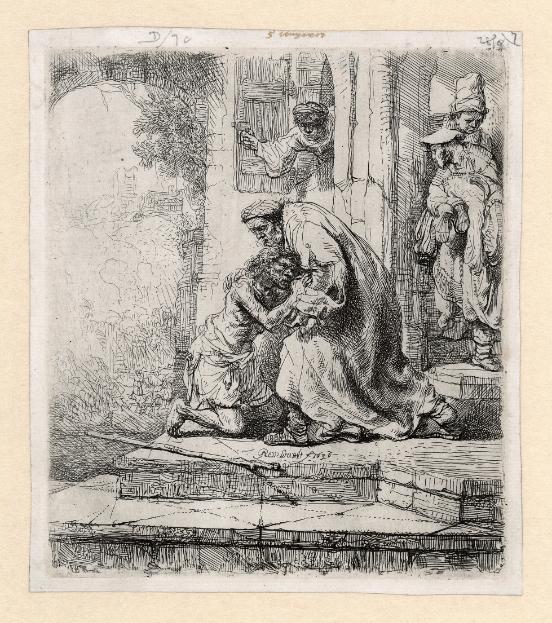 Rembrandt ets: de terugkeer van de verloren zoon, 1636