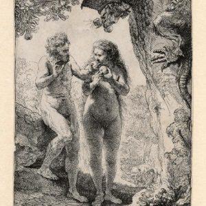 Rembrandt ets: de zondeval van Adam en Eva