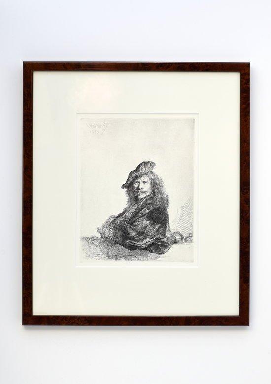 Rembrandt ets Grand Seigneur, zelfportret leunend