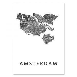 Amsterdam city map (black on white poster // art)-0