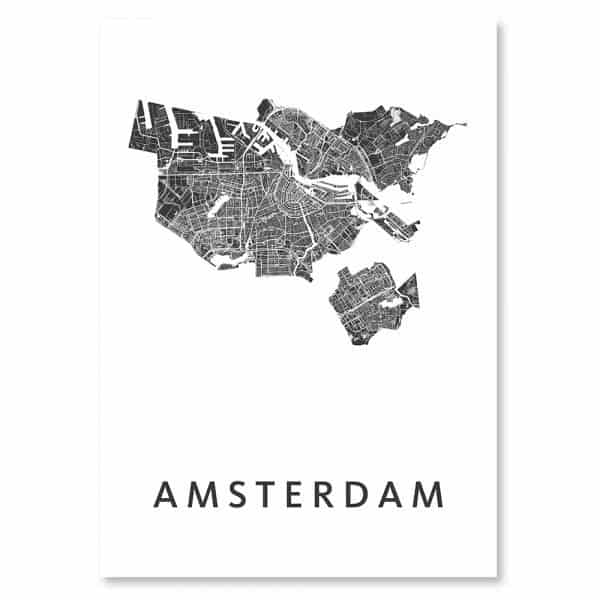 Amsterdam city map (black on white poster // art)-0