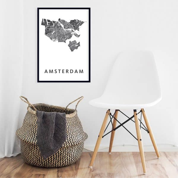 Amsterdam city map (art poster black on white)