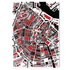 Amsterdam city map (art poster white on black)