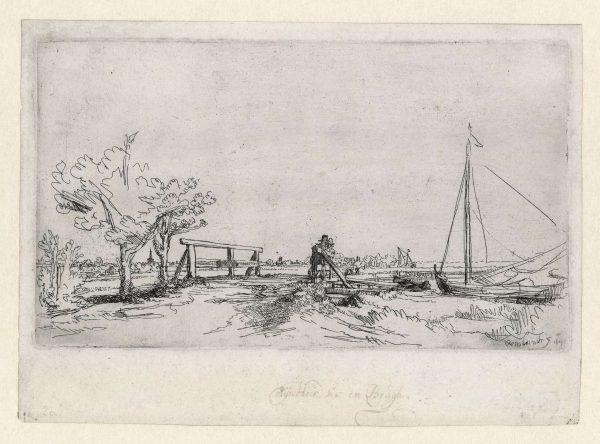 Rembrandt ets: Bruggetje van Six, ca. 1645