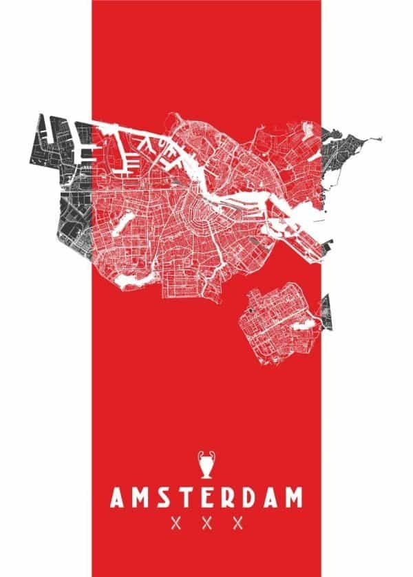 Ajax Amsterdam plattegrond kaart poster