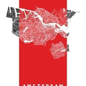 Amsterdam city map (art poster white on black)