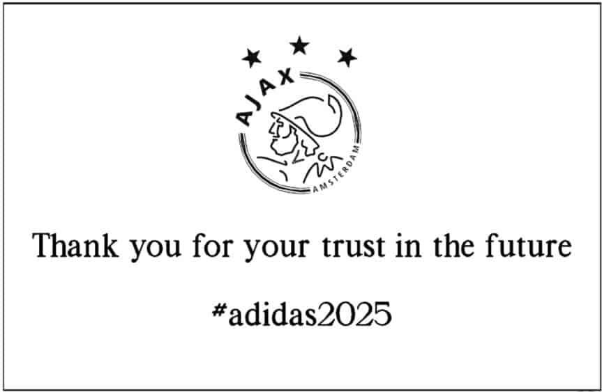 Amsterdammertje voor Adidas van Ajax tekstplaat