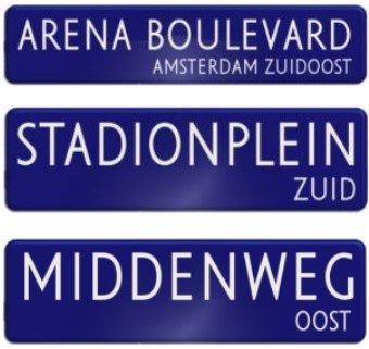 Drie stadions Ajax op Amsterdamse straatnaamborden
