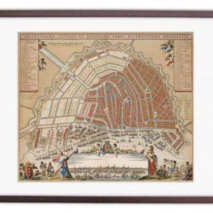 Oude kaart Amsterdam in 1662 Stalpaert/Visscher