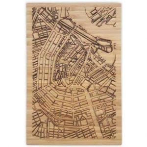 Snijplank Amsterdam lasergegraveerde plattegrond