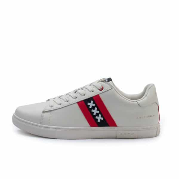 Amsterdam sneakers wit met wapen van Amsterdam zij-aanzicht met gouden letters