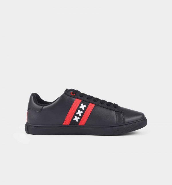 Amsterdam sneakers zwart zij-aanzicht