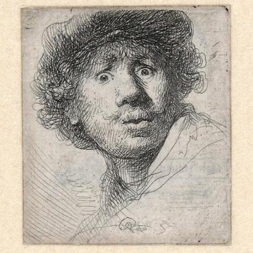 Rembrandt ets: Zelfportret, open mond, 1630-0